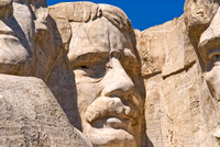 Closeup of Theodore Roosevelt on Mount Rushmore, South Dakota