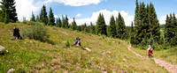 Panorama of Hiker on Shrine Pass in Colorado