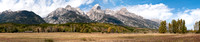 Panorama of Grand Teton Mountains at Windy Point