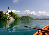 Rowing on Lake Bled in Bled, Slovenia