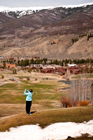 Woman Golfer on Mountain Course